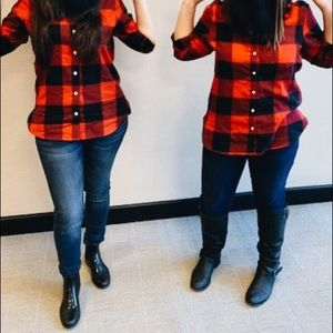 Old Navy Tops - Red Buffalo Checkered Flannel